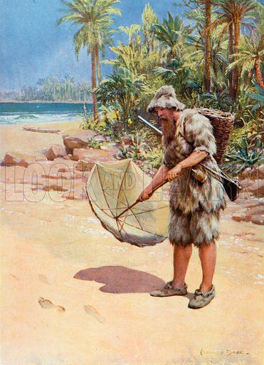 Illustration for Robinson Crusoe by Daniel Defore (Raphael Tuck, c 1910).