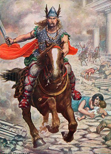 Attila the Hun raising Aquila to the ground. Illustration for Storia d'Italia by Paolo Giudici (Nerbini, 1930).