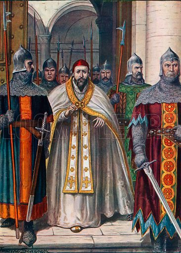 Pope Martin I forced to leave Rome by order of Emperor Constans carried out by Theodore Calliopa, exarch of Ravenna. Illustration for Storia d'Italia by Paolo Giudici (Nerbini, 1930).