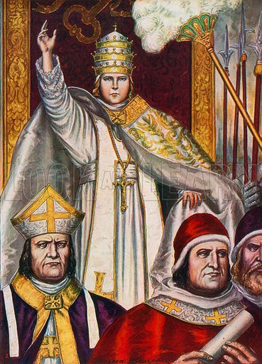 Pope Benedict IX elected Pope at the age of 12, in 1032. Illustration for Storia d'Italia by Paolo Giudici (Nerbini, 1930).