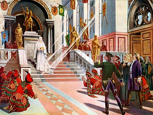 La Dame Blanche / The White Lady.  Last Act and scene.  Illustration for The Great Operas edited by James W Buel (Societe Universelle Lyrique, c 1900).  Large lithograph.