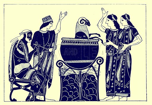 Medea boiling the ram.  Illustration from Greek Vase Paintings by J E Harrison and D S MacColl (T Fisher Unwin, 1894).