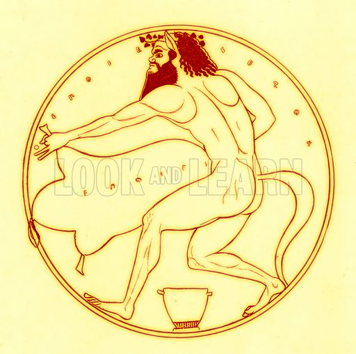 Satyr and wine-skin.  Illustration from Greek Vase Paintings by J E Harrison and D S MacColl (T Fisher Unwin, 1894).