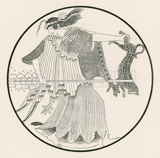 Maenad. Illustration from Greek Vase Paintings by JE Harrison and DS MacColl (T Fisher Unwin, 1894).