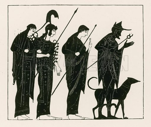 The judgement of Paris. Illustration from Greek Vase Paintings by J E Harrison and D S MacColl (T Fisher Unwin, 1894).