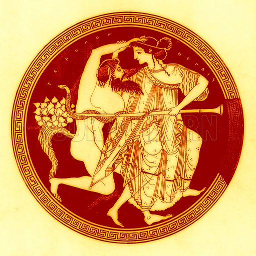 Satyr and Maenad.  Illustration from Greek Vase Paintings by J E Harrison and D S MacColl (T Fisher Unwin, 1894).
