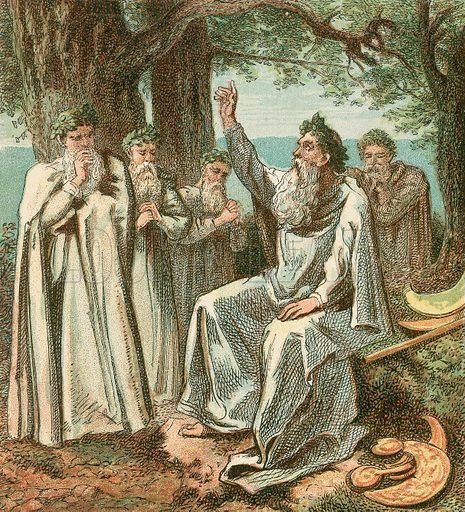 Druids or British Priests. Pictures of English HIstory published by George Routledge & Sons c 1890. Printed in colours by Kronheim. Professionally re-touched illustration.