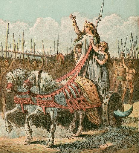 Boadicea and her army.  Pictures of English HIstory published by George Routledge & Sons c 1890. Printed in colours by Kronheim.  Professionally re-touched illustration.
