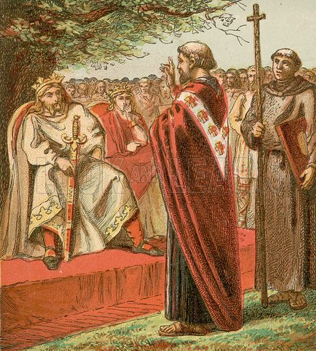 Saint Augustine and the Saxons.  Pictures of English HIstory published by George Routledge & Sons c 1890. Printed in colours by Kronheim.  Professionally re-touched illustration.