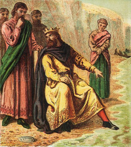 Canute and his courtiers. Pictures of English History published by George Routledge & Sons c 1890. Printed in colours by Kronheim. Professionally re-touched illustration.