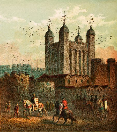 The Tower of London. Pictures of English History published by George Routledge & Sons c 1890. Printed in colours by Kronheim. Professionally re-touched illustration.