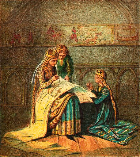 Queen Matilda and her Tapestry. Pictures of English History published by George Routledge & Sons c 1890. Printed in colours by Kronheim. Professionally re-touched illustration.