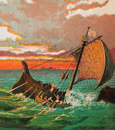 """Wreck of the """"White Ship"""". Pictures of English History published by George Routledge & Sons c 1890. Printed in colours by Kronheim. Professionally re-touched illustration."""