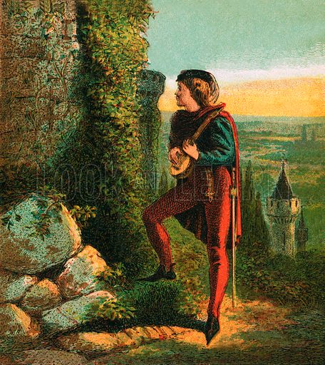 Blondel at Richard's Prison. Pictures of English History published by George Routledge & Sons c 1890. Printed in colours by Kronheim. Professionally re-touched illustration.