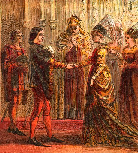 Marriage of Henry V. Pictures of English History published by George Routledge & Sons c 1890. Printed in colours by Kronheim. Professionally re-touched illustration.