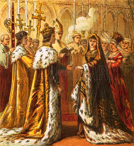 Marriage of Henry VII. Pictures of English History published by George Routledge & Sons c 1890. Printed in colours by Kronheim. Professionally re-touched illustration.