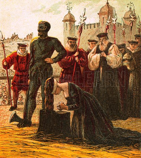 Execution of Lady Jane Grey. Pictures of English History published by George Routledge & Sons c 1890. Printed in colours by Kronheim. Professionally re-touched illustration.
