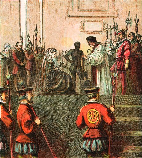 Execution of Mary, Queen of Scots. Pictures of English History published by George Routledge & Sons c 1890. Printed in colours by Kronheim. Professionally re-touched illustration.