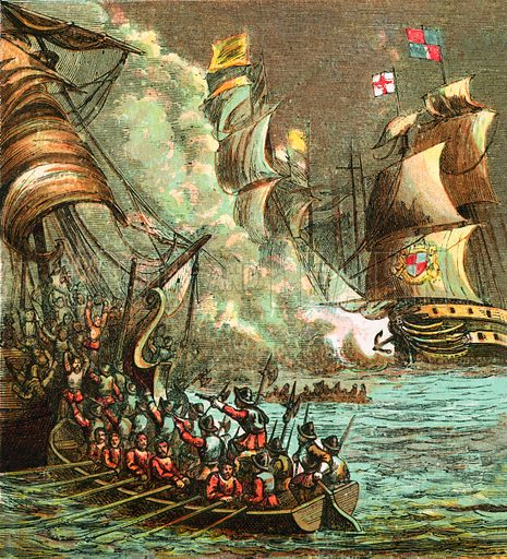 The Spanish Armada. Pictures of English History published by George Routledge & Sons c 1890. Printed in colours by Kronheim. Professionally re-touched illustration.