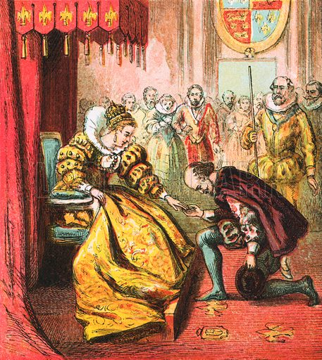 Queen Elizabeth and Shakespeare. Pictures of English History published by George Routledge & Sons c 1890. Printed in colours by Kronheim. Professionally re-touched illustration.