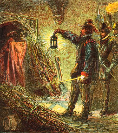 The Capture of Guy Fawkes. Pictures of English History published by George Routledge & Sons c 1890. Printed in colours by Kronheim. Professionally re-touched illustration.