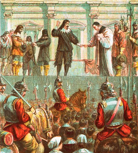 Execution of Charles I. Pictures of English History published by George Routledge & Sons c 1890. Printed in colours by Kronheim. Professionally re-touched illustration.