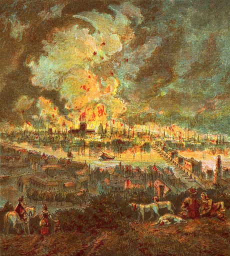 Great Fire of London (1666). Pictures of English History published by George Routledge & Sons c 1890. Printed in colours by Kronheim. Professionally re-touched illustration.