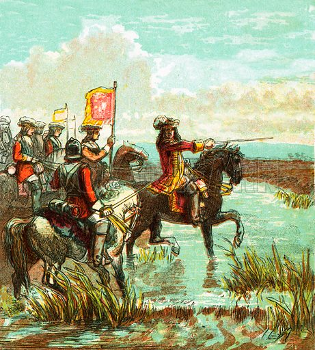 Battle of the Boyne. Pictures of English History published by George Routledge & Sons c 1890. Printed in colours by Kronheim. Professionally re-touched illustration.