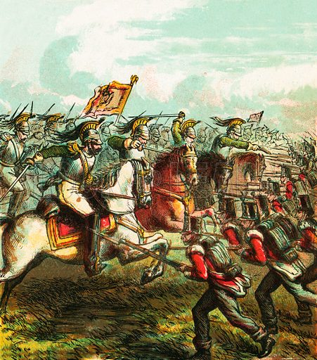 Battle of Waterloo. Pictures of English History published by George Routledge & Sons c 1890. Printed in colours by Kronheim. Professionally re-touched illustration.