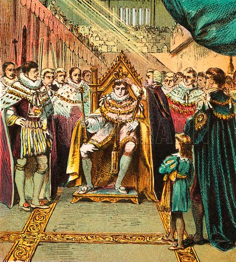 Coronation of George IV. Pictures of English History published by George Routledge & Sons c 1890. Printed in colours by Kronheim. Professionally re-touched illustration.