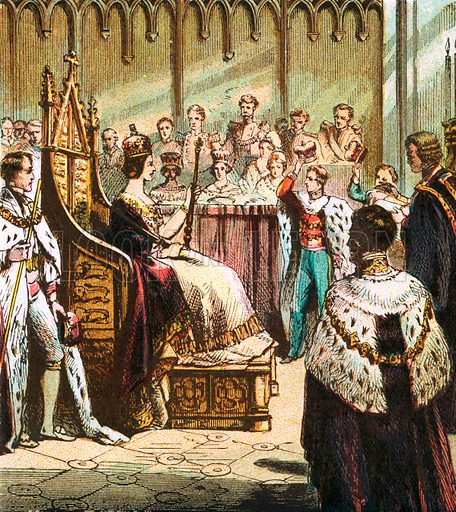 Coronation of Victoria. Pictures of English History published by George Routledge & Sons c 1890. Printed in colours by Kronheim. Professionally re-touched illustration.