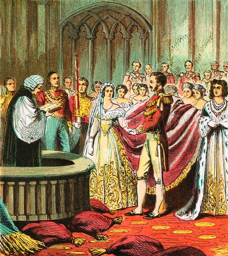 Marriage of Queen Victoria. Pictures of English History published by George Routledge & Sons c 1890. Printed in colours by Kronheim. Professionally re-touched illustration.