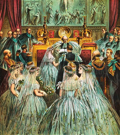 Marriage of Prince of Wales and Alexandra. Pictures of English History published by George Routledge & Sons c 1890. Printed in colours by Kronheim. Professionally re-touched illustration.