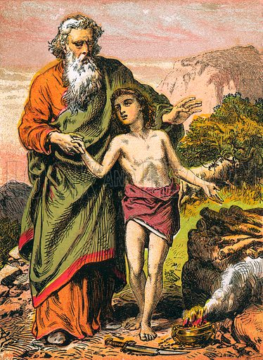 Sacrifice of Isaac. The Child's Coloured Scripture Book published by George Routledge & Sons, c 1890. Printed in colours by Kronheim & Co Professionally re-touched illustration.