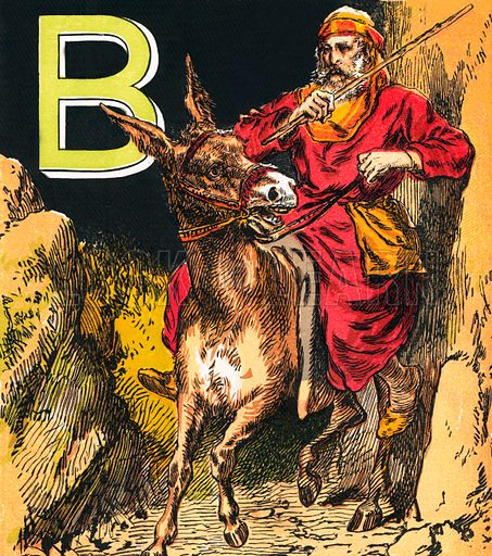Balaam. The Child's Coloured Scripture Book published by George Routledge & Sons, c 1890. Printed in colours by Kronheim & Co Professionally re-touched illustration.