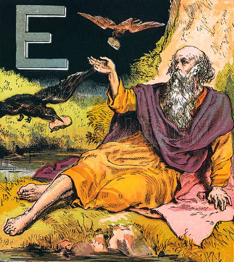 Elijah. The Child's Coloured Scripture Book published by George Routledge & Sons, c 1890. Printed in colours by Kronheim & Co Professionally re-touched illustration.