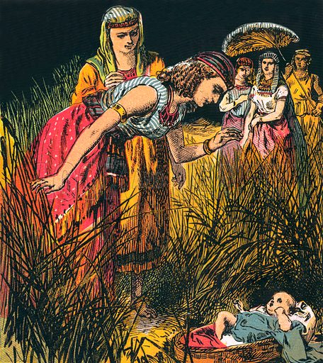 Finding the Infant Moses. The Child's Coloured Scripture Book published by George Routledge & Sons, c 1890. Printed in colours by Kronheim & Co Professionally re-touched illustration.