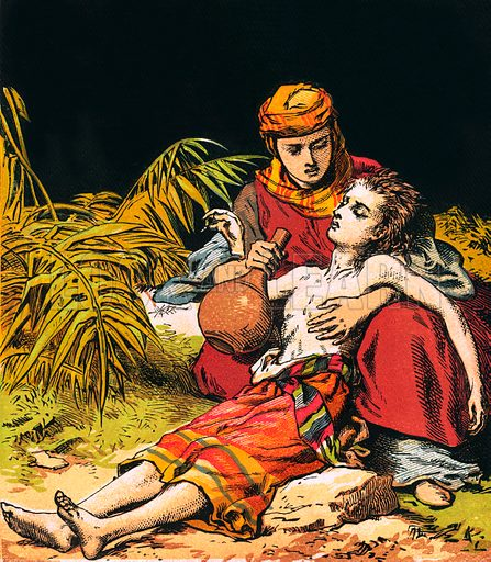 Hagar and Ishmael. The Child's Coloured Scripture Book published by George Routledge & Sons, c 1890. Printed in colours by Kronheim & Co Professionally re-touched illustration.