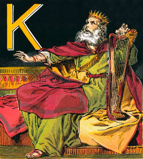 King David. The Child's Coloured Scripture Book published by George Routledge & Sons, c 1890. Printed in colours by Kronheim & Co Professionally re-touched illustration.