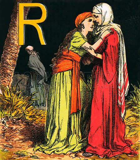 Ruth. The Child's Coloured Scripture Book published by George Routledge & Sons, c 1890. Printed in colours by Kronheim & Co Professionally re-touched illustration.