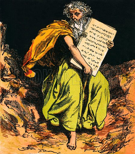 The Ten Commandments. The Child's Coloured Scripture Book published by George Routledge & Sons, c 1890. Printed in colours by Kronheim & Co Professionally re-touched illustration.