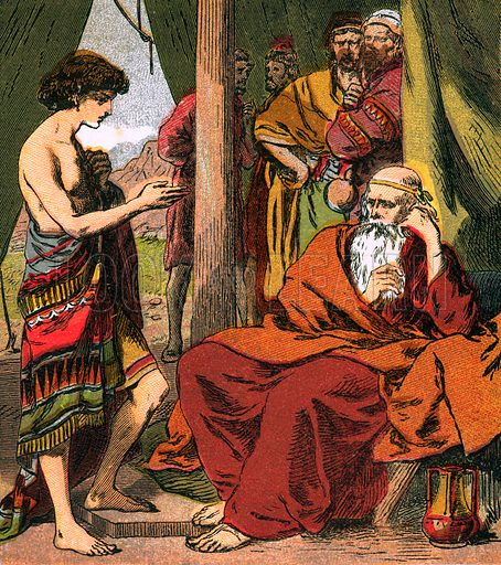 Joseph with Jacob. The Child's Coloured Scripture Book published by George Routledge & Sons, c 1890. Printed in colours by Kronheim & Co Professionally re-touched illustration.