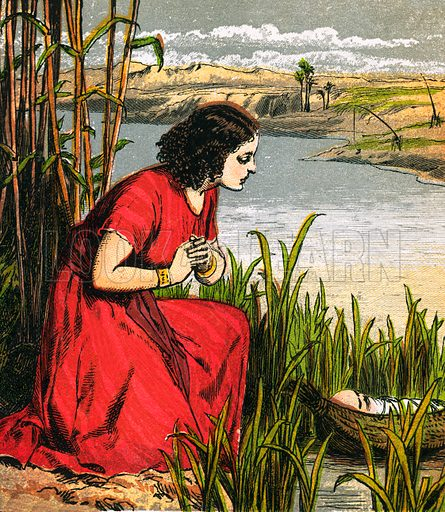 Moses being put in the bull rushes. The Child's Coloured Scripture Book published by George Routledge & Sons, c 1890. Printed in colours by Kronheim & Co Professionally re-touched illustration.