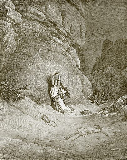 Hagar and Ishmael in the desert. Young people's Bible history (c 1900).