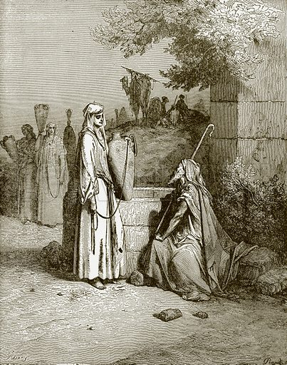 Eliezer and Rebekah. Young people's Bible history (c 1900).