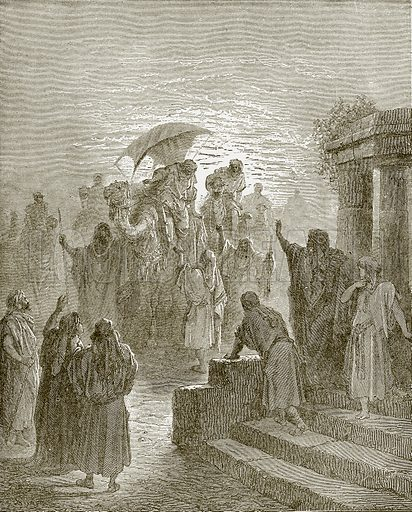 The meeting of Isaac and Rebekah. Young people's Bible history (c 1900).