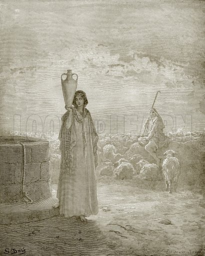 Jacob keeping Laban's flocks. Young people's Bible history (c 1900).