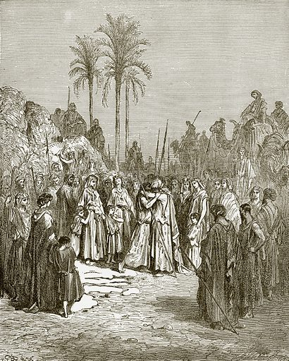 The meeting of Jacob and Esau. Young people's Bible history (c 1900).
