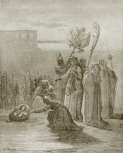 The finding of Moses. Young people's Bible history (c 1900).
