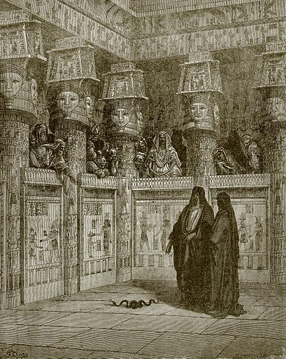Moses and Aaron before pharaoh. Young people's Bible history (c 1900).